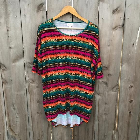 0f1738ed LuLaRoe Tops - Lularoe Hi Low Irma Tunic Top Bright Stripes Rayon
